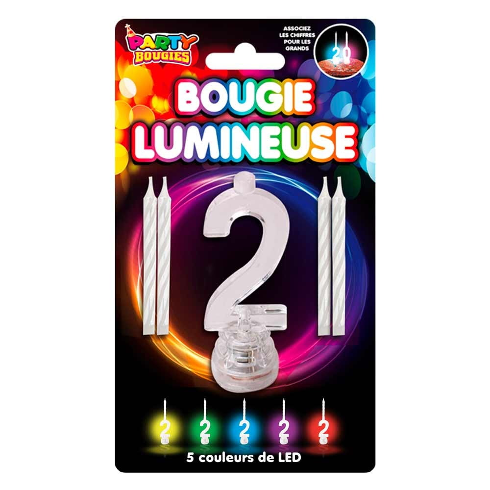 Bougie Lumineuse clignotante chiffre 2