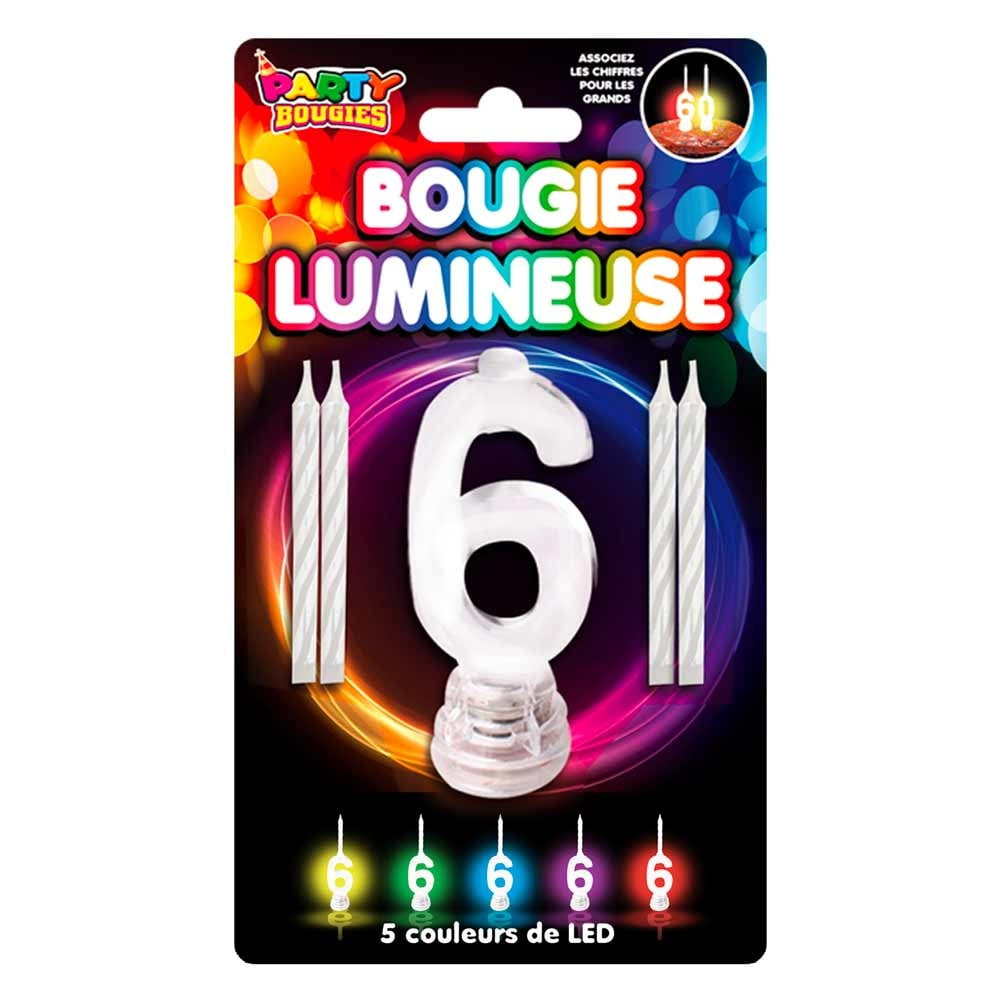 Bougie Lumineuse clignotante chiffre 6