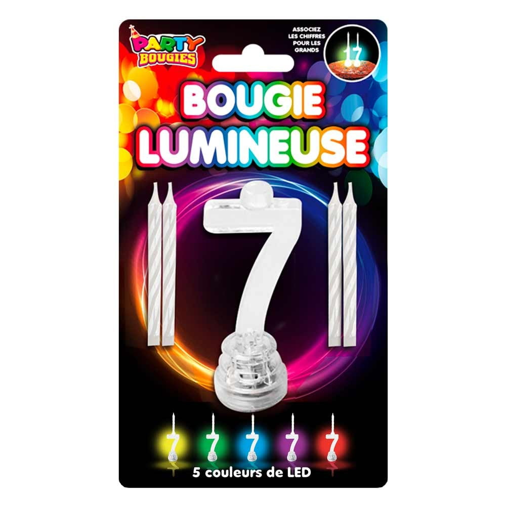 Bougie Lumineuse clignotante chiffre 7