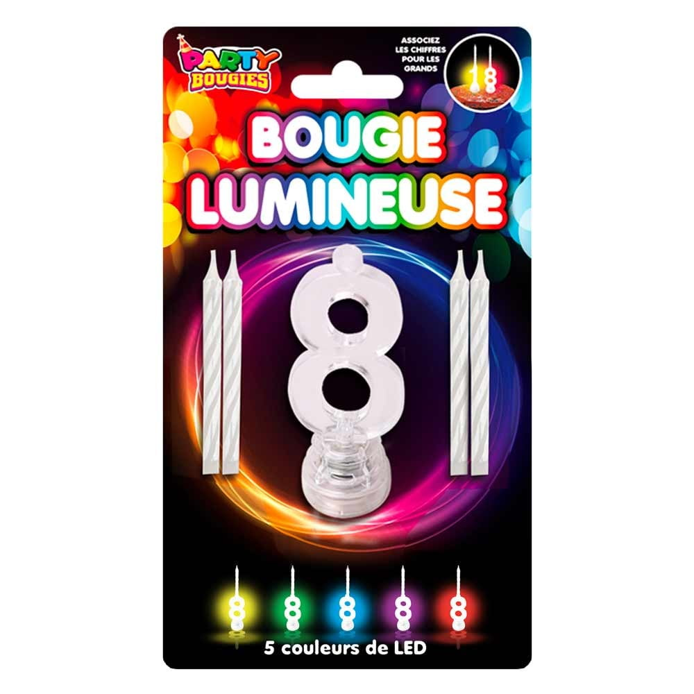 Bougie Lumineuse clignotante chiffre 8