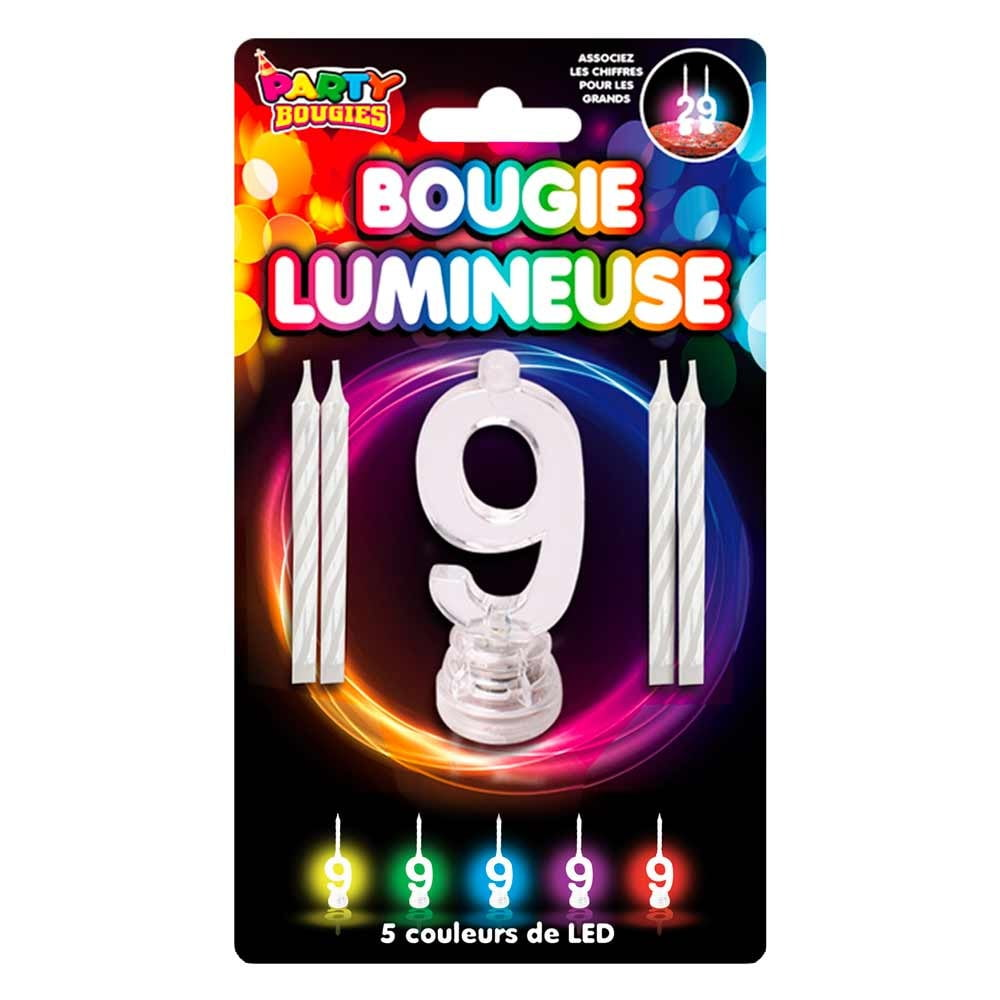 Bougie Lumineuses clignotantes chiffre 9